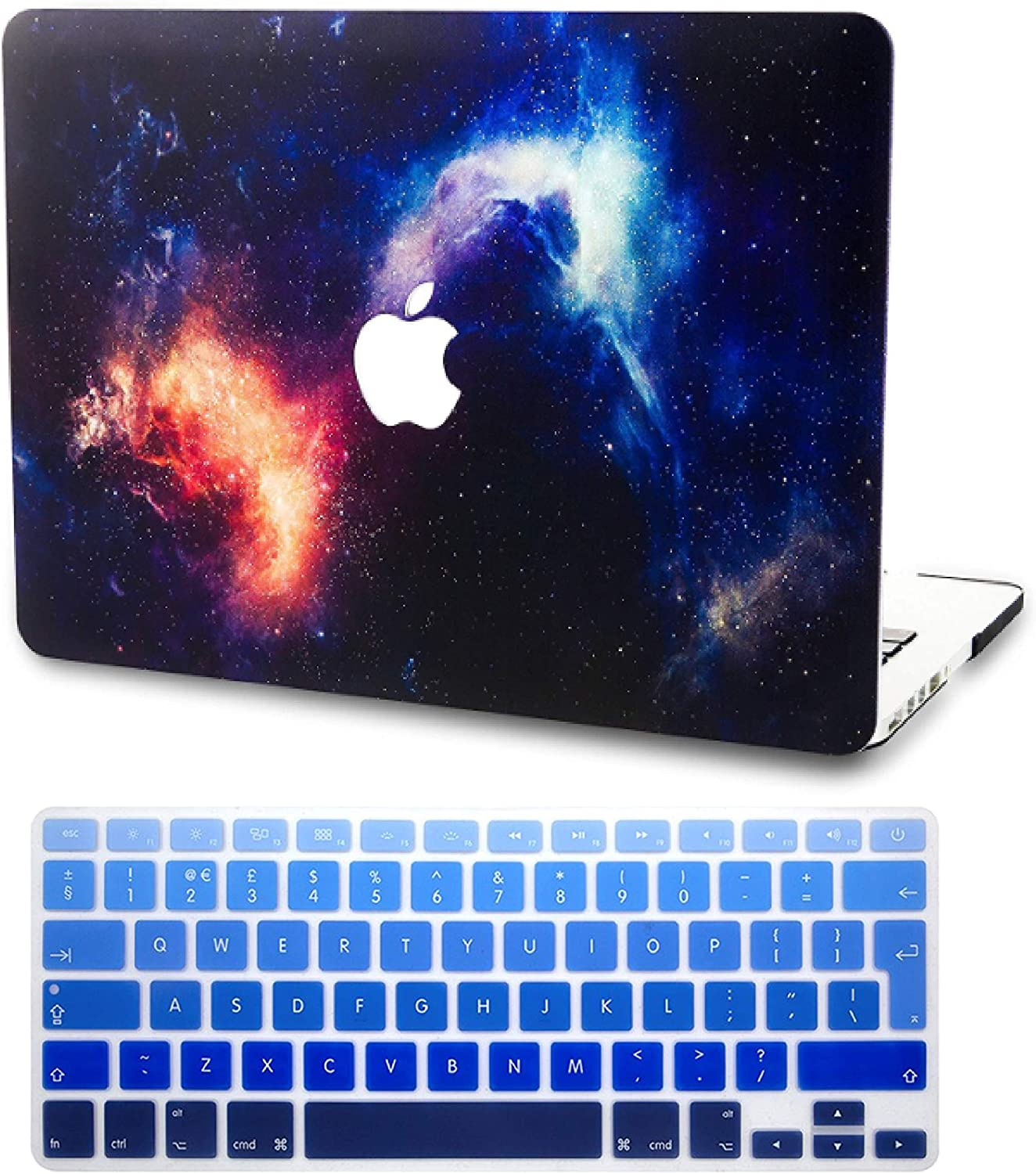 "KECC Laptop Case for MacBook Pro 15"" (2019/2018/2017/2016) w/Keyboard Cover Plastic Hard Shell A1990/A1707 Touch Bar 2 in 1 Bundle (Nebula)"