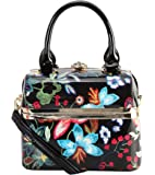 Diophy Shiny Patent PU Leather Floral Embroidered Pattern Small Box Style Top Handle Handbag LE-6430