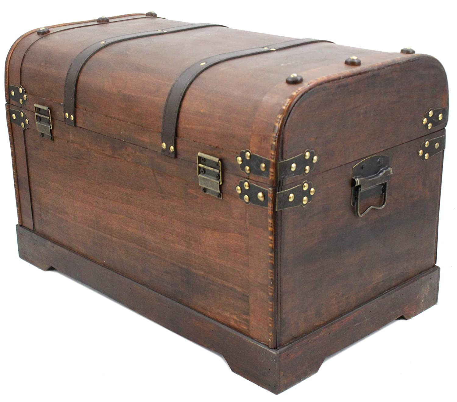 Wooden Storage Chest Living Room Furniture Shoe Blanket Cabinet Chests Coffee Table Bedroom Trunk Box Wood Trunks by Well Pack Box Dark Brown, Medium