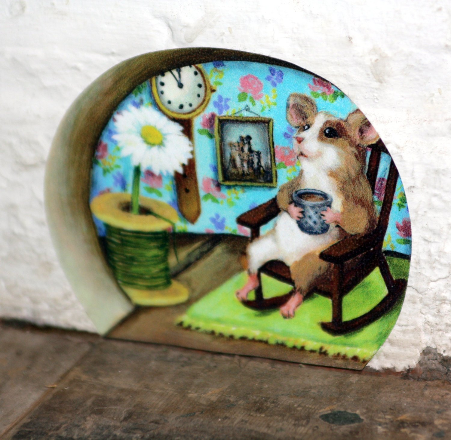 Mum/Grandma Mouse hole with Tea and Floral Wallpaper Wall sticker/Mini Mural