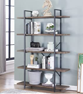 OK Furniture 5 Tier Industrial Style Bookshelf Wood And Metal Bookcases 70
