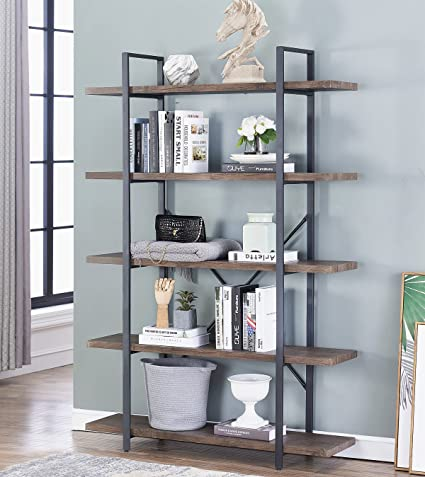 OK Furniture 5 Tier Industrial Style Bookshelf Wood And Metal Bookcases 70quot