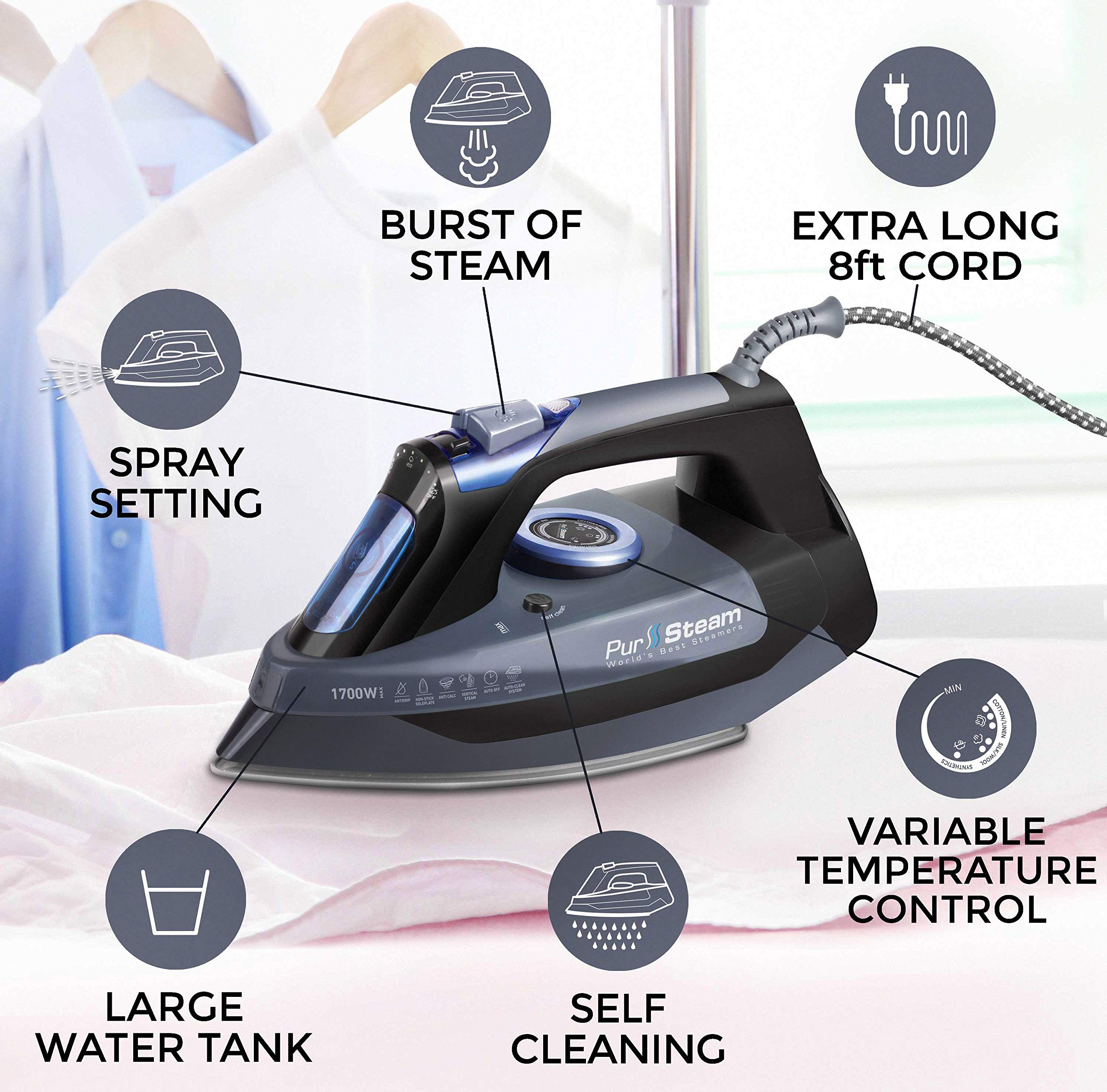 Professional Grade 1700W Steam Iron for Clothes with Rapid Even Heat Scratch Resistant Stainless Steel Sole Plate, True Position Axial Aligned Steam Holes, Self-Cleaning Function + Thermostat Dial by PurSteam World's Best Steamers (Image #2)