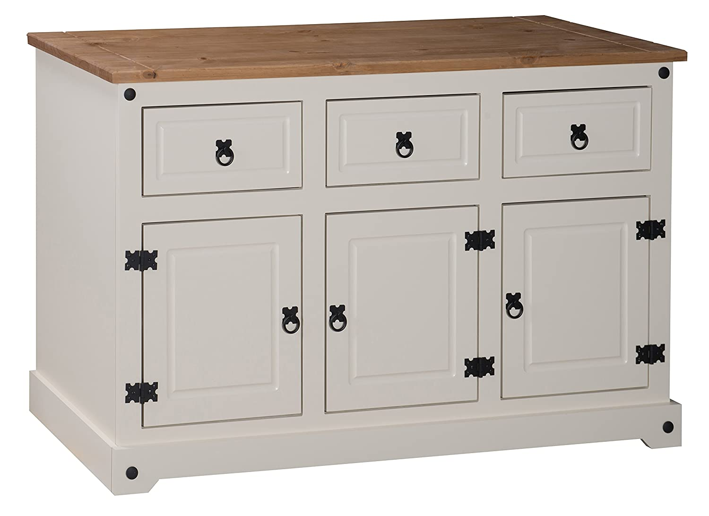 Mercers Furniture Corona Painted 3-Door 3-Drawer Sideboard - Cream / Pine Mercer's Furniture COPA100