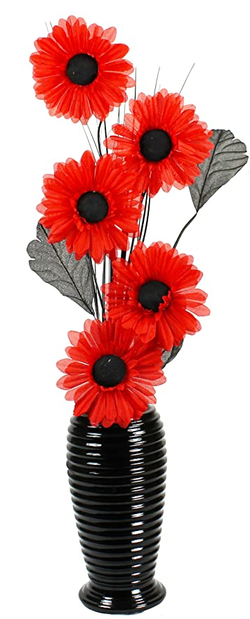 Attractive Flourish 706661 814 Black Vase with Red Silk Artificial Flowers in  HG51