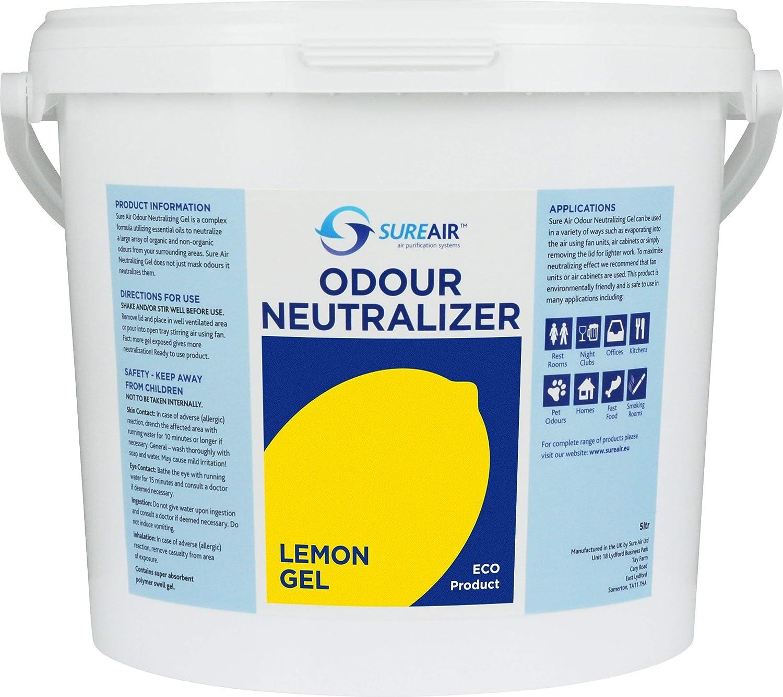 Sureair Commercial Odour Neutralizer Gel Air freshener 5 Litre -for serious Smell Problems ! -Lemon SUREAIR air purification systems