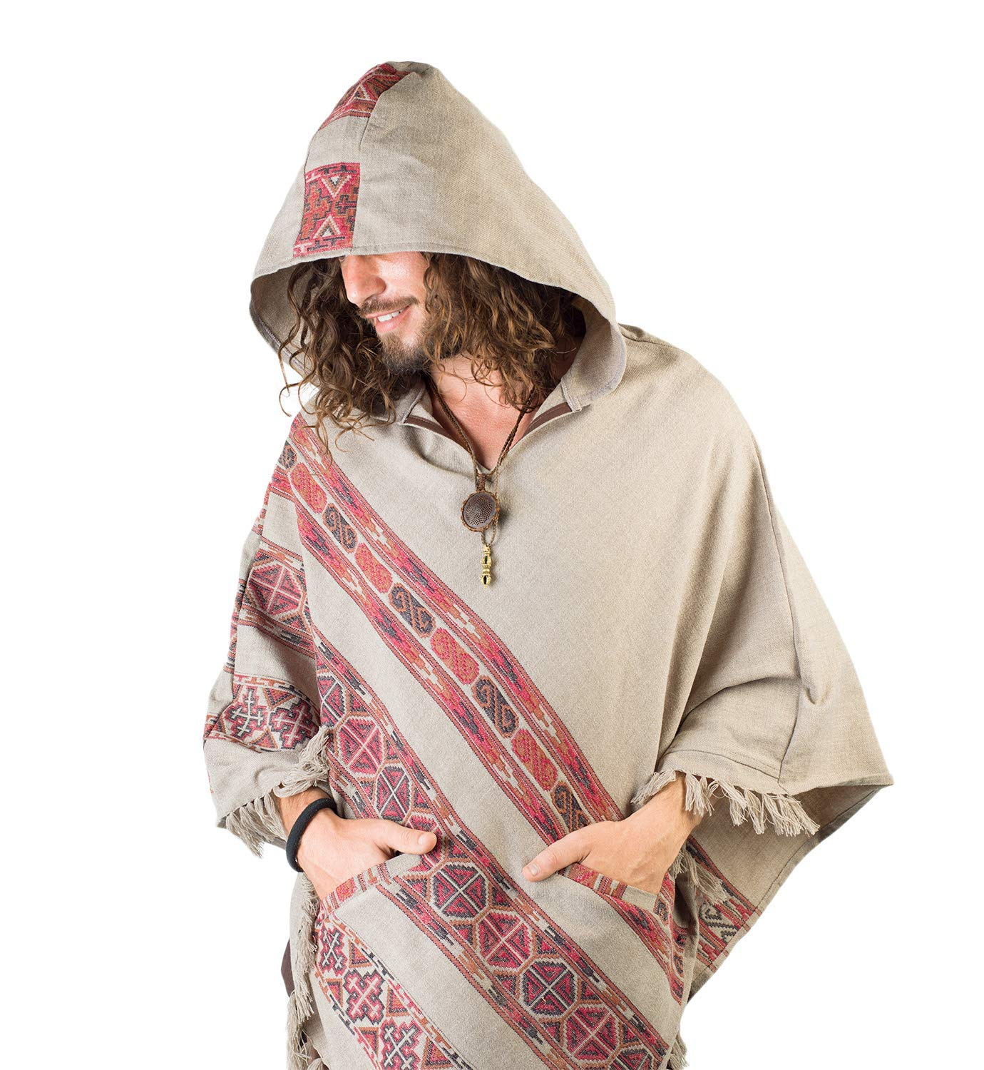 Handmade Hooded Mens Poncho Light Grey Cashmere Wool with Large Hood and Pockets Jungle Primitive Gypsy Festival Mexican Tribal Embroidered Celtic Earthy Winter Tibetan AJJAYA Wild /…
