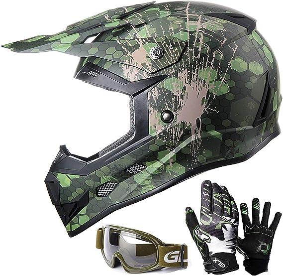 + Helmet Pink S Leopard Kids Children Motorbike Motocross Set { CAMO Suit XS + Goggles } 3-4 Yrs 5cm /& Gloves Pink S 49-50cm