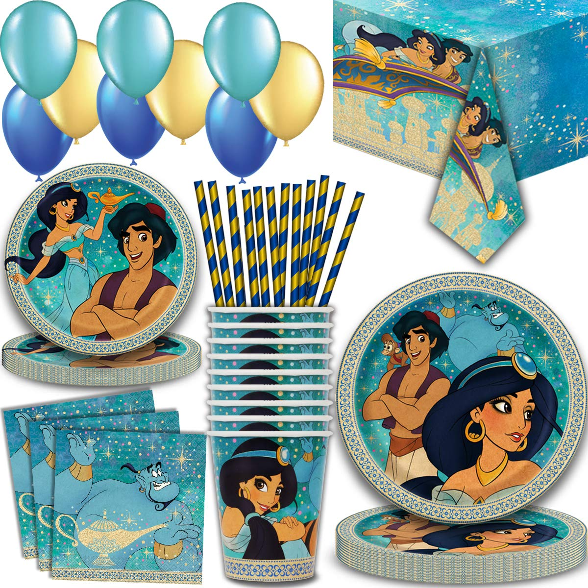 Aladdin Party Supplies for 16 - Large Plates, cake plates, Napkins, Tablecloth, Cups, Straws - Great Decorative Birthday Set with Aladdin, Jasmine, Genie, Magic Carpet, Sultan, Abu, Jafar and more! by HeroFiber