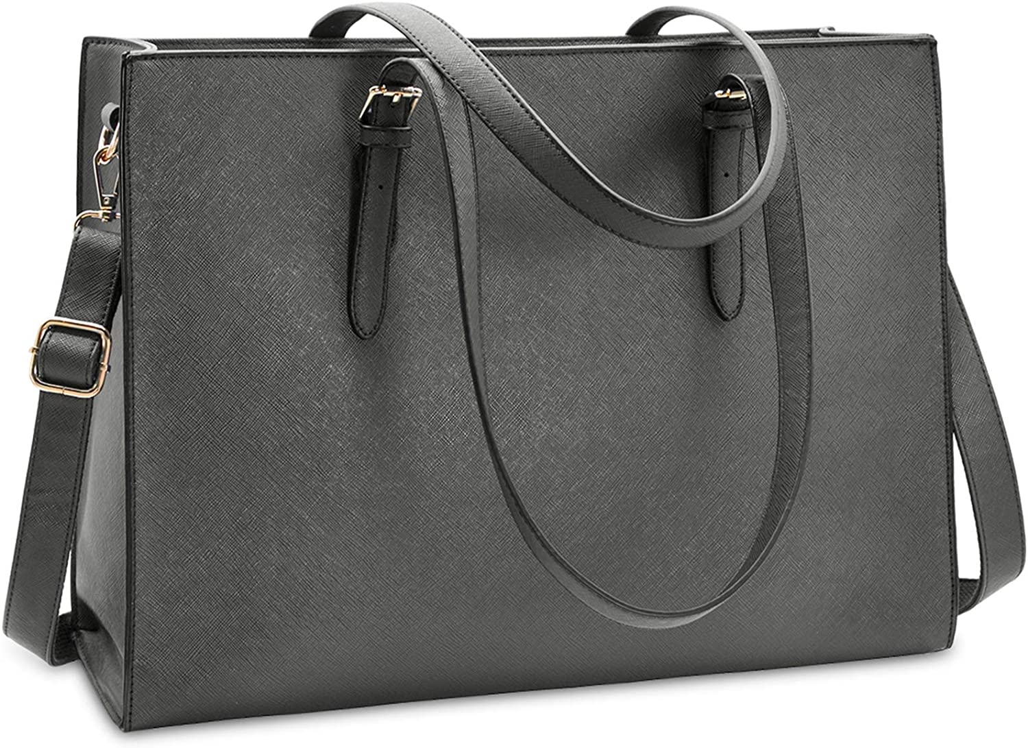 Laptop Bag for Women Waterproof Lightweight Leather 15.6 Inch Computer Tote Bag Business Office Briefcase Large Capacity Handbag Shoulder Bag Professional Office Work Bag Grey