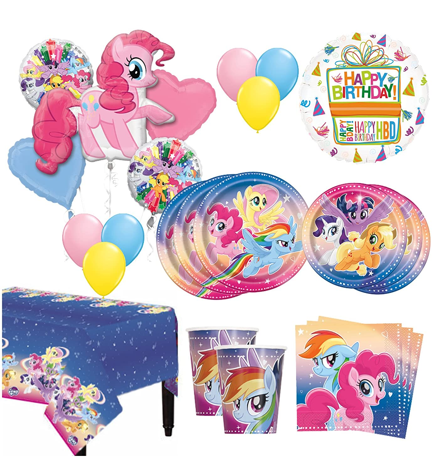 Mayflower Products The Ultimate 8 Guest 53pc My Little Pony Birthday Party Supplies and Balloon Bouquet Decoration Kit Anscam