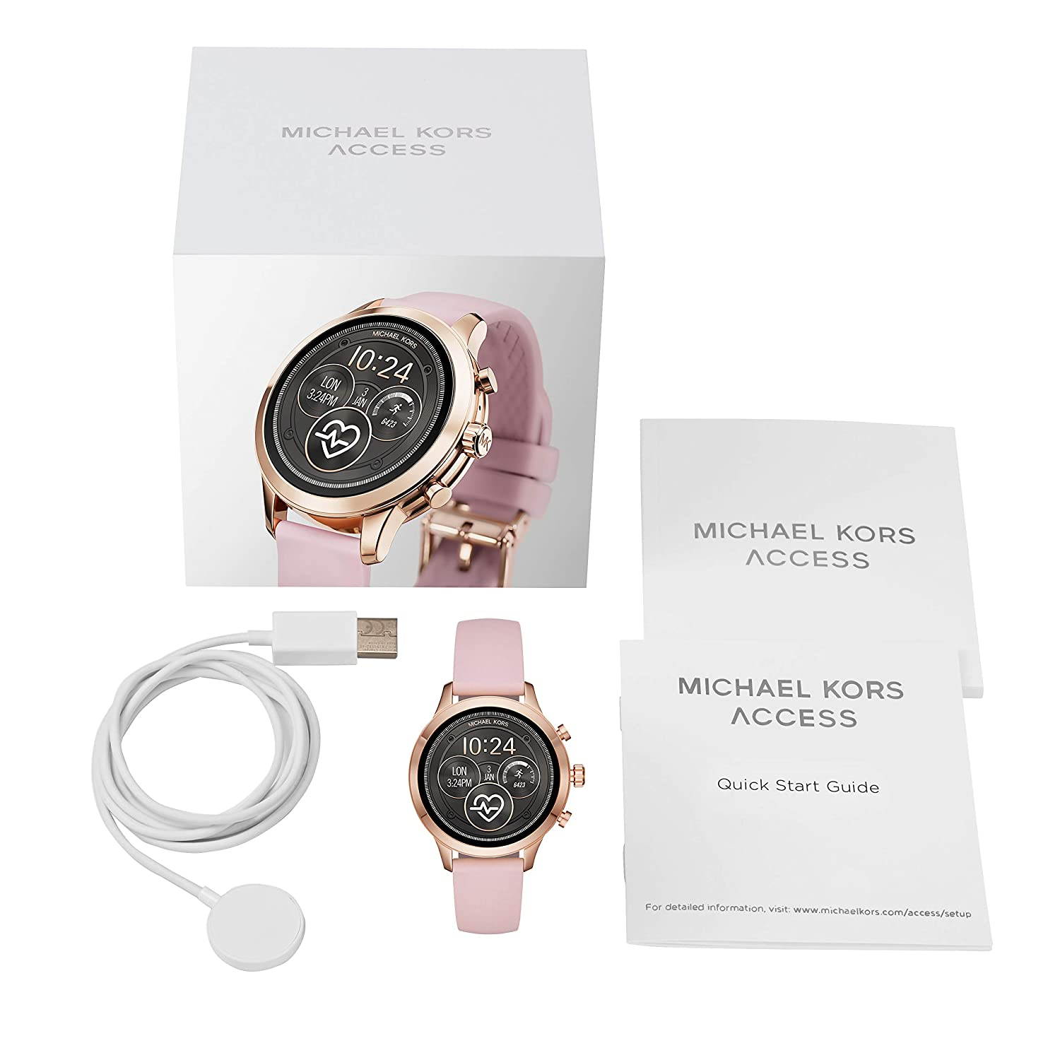 fa7119d0fcb6 Amazon.com  Michael Kors Women s Access Runway Stainless Steel Silicone  Smart Watch