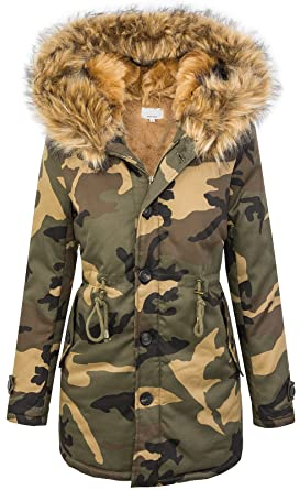 Rock Creek Selection Damen Winter Parka Kunstfell Kapuze Army Look warm D 197 SL