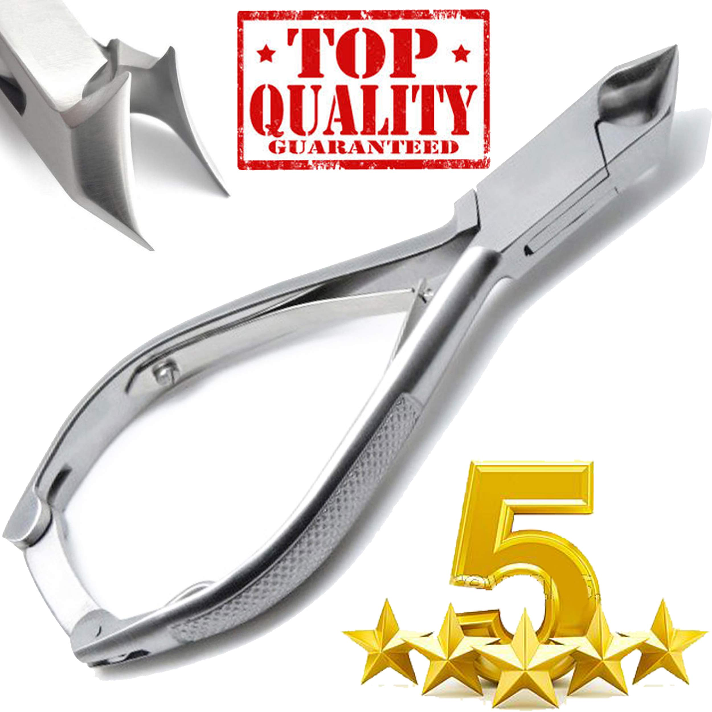 Professional Toe Nail Cutters Clippers Nippers Chiropody Podiatry Heavy Duty - for Very Thick Nails Fungus Nails - Moon Shape - C Shape - Professional Grade Stainless Steel by Samsal-Parts