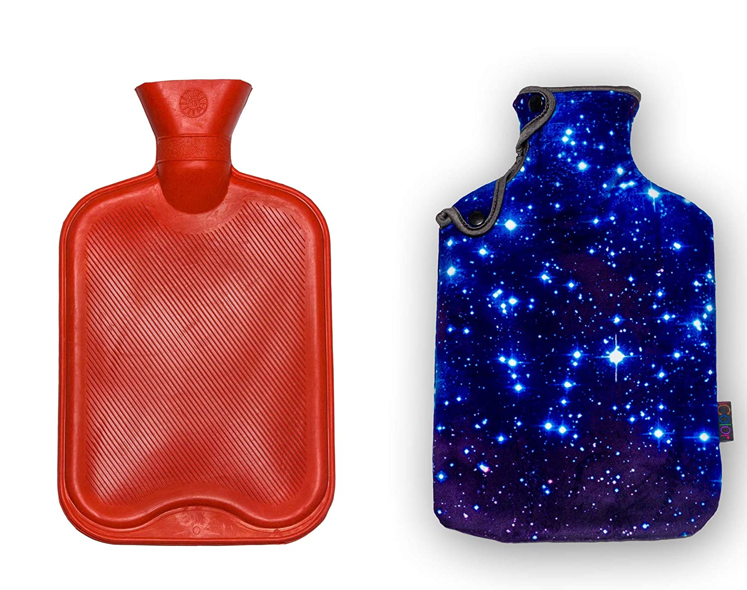 iColor Rubber Hot Water Bottle 2 Liter Classic Red Hot Water Bag with Soft Warm Flannel Cover Set (Blue Sky)