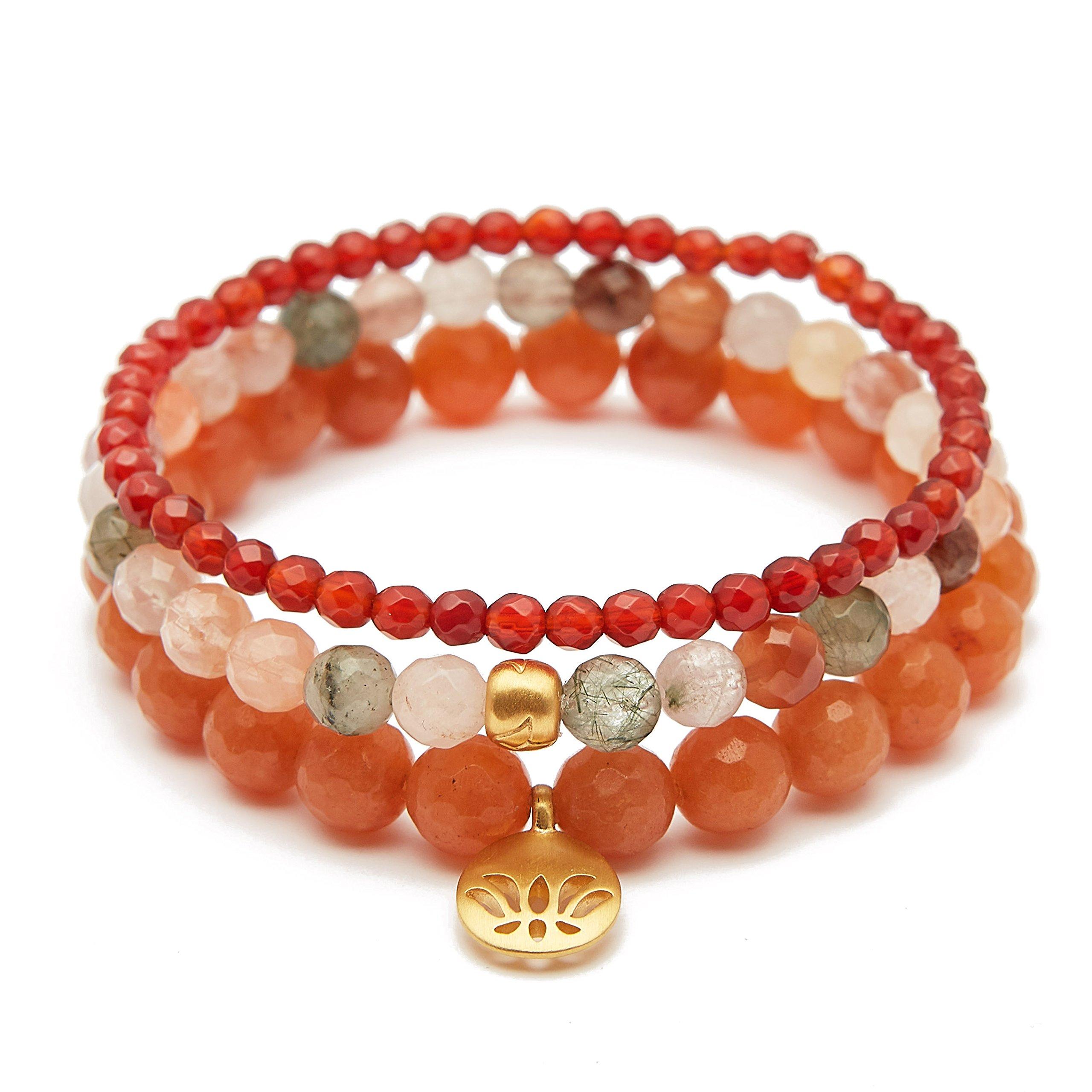 Satya Jewelry Women's Carnelian Rutilated Quartz Red Aventurine Gold Lotus Stretch Bracelet Set, Orange, One Size