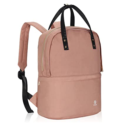 ce93fc638633 Veegul Convertible Double Desk Backpack Multifunction Daypack Lightweight  Bookbag 16L Light Pink
