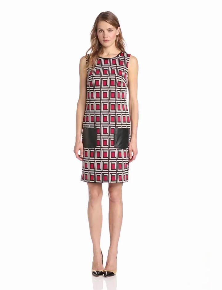 Nine West Dresses Womens Print Shift Dress, Cherry Tart Combo, 8