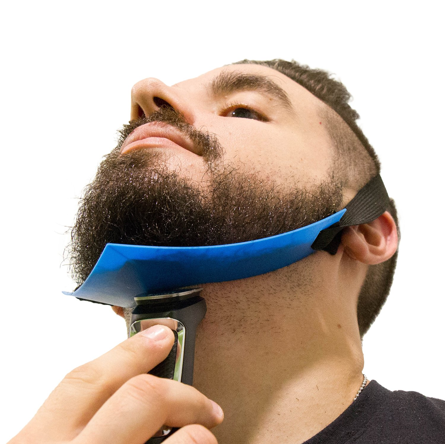 Aberlite Beard Shaper - FlexShaper Neckline Guide - Hands-Free & Flexible - The Ultimate Neckline Beard Shaping Template (Patent Pending)(Blue) - Beard Trimmer Tool - Lineup Stencil Kit