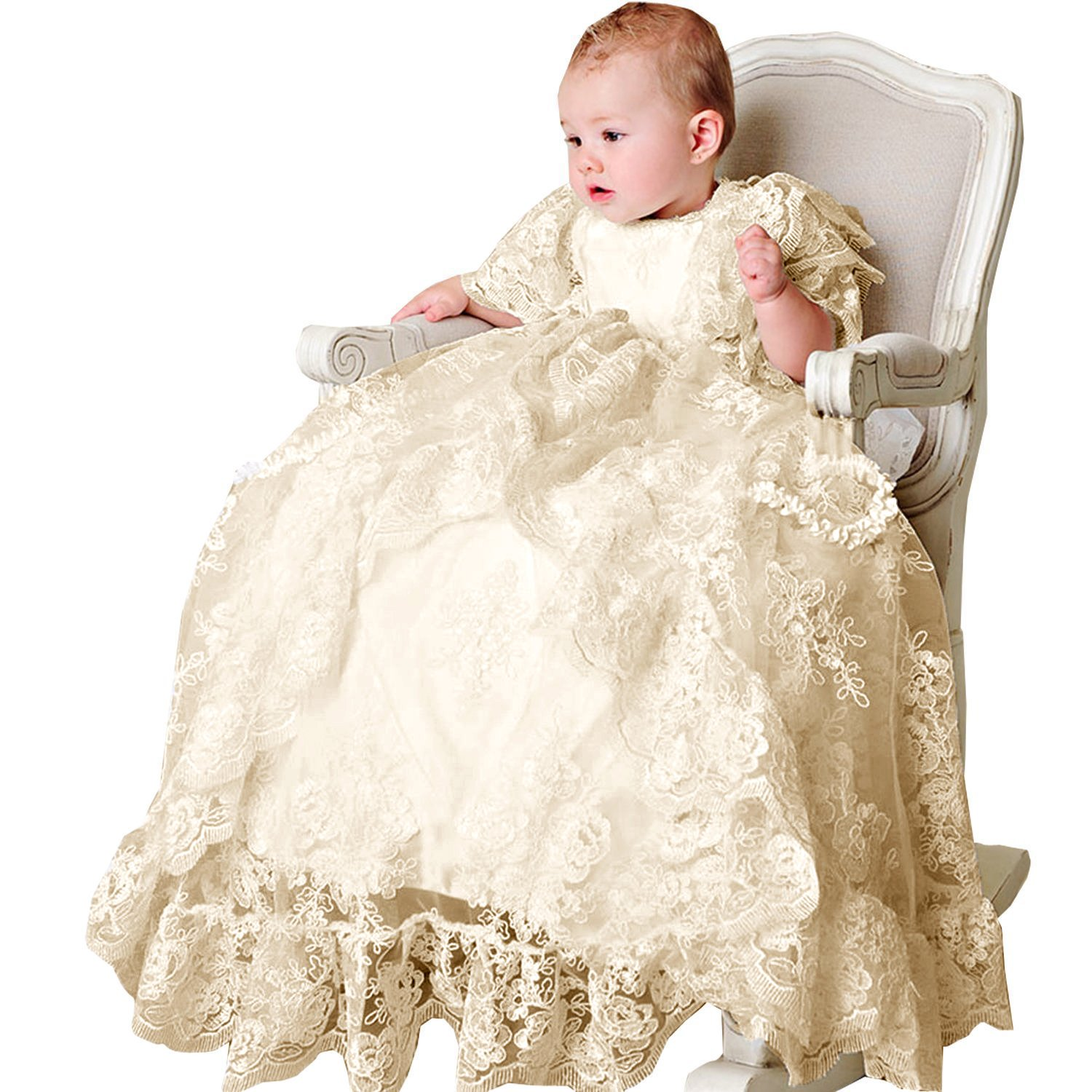 Newdeve Short Sleeve White Lace Christening Baptism Dresses Long With Cap (3-6 Months, Ivory) by New Deve