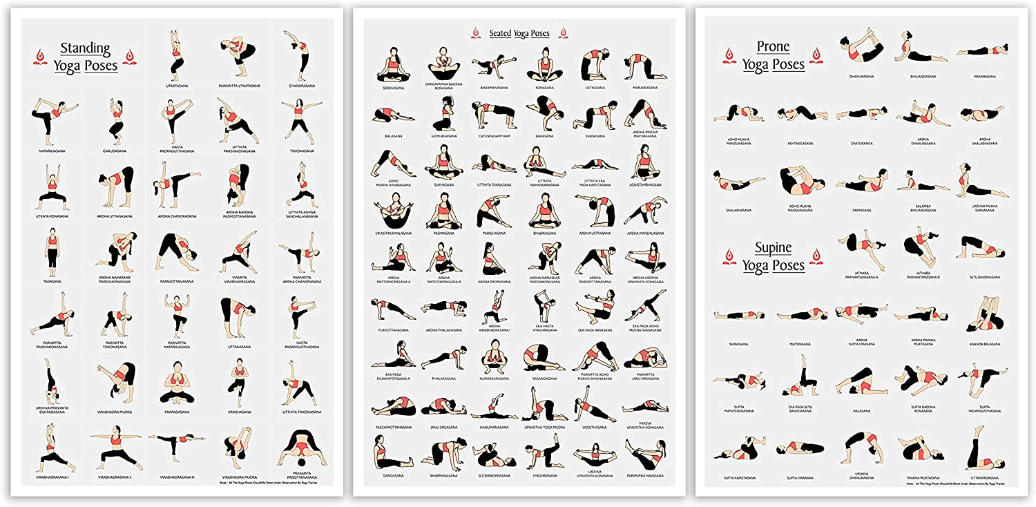 Amazon.com: LAB NO 4 Set of Three Yoga Poses in A2 Poster ...