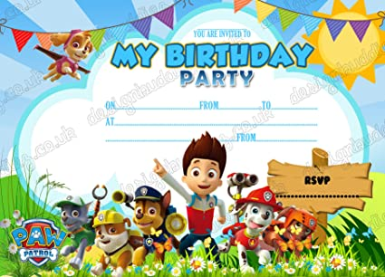 10 X Paw Patrol Birthday Party Invitations With FREE Envelopes