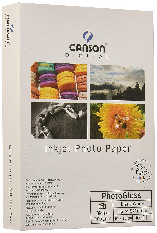 Canson Ultimate Gloss 260g - Papel fotográfico, caja 100 hojas, 10 x 15 cm