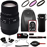 Sigma 70-300mm f/4-5.6 DG Macro Motorized Telephoto Zoom Lens for Nikon Digital SLR Cameras w/ Backpack & Essential Accessory Bundle