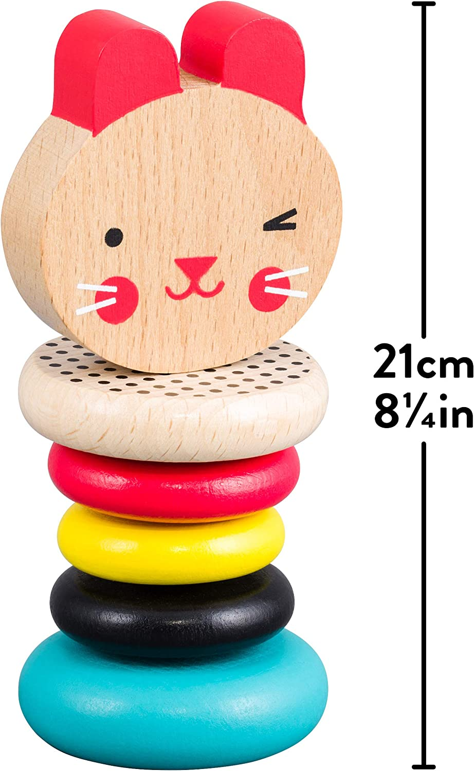 Multi 6 Months Petit Collage Eco-Friendly Baby Wooden Bunny Rattle