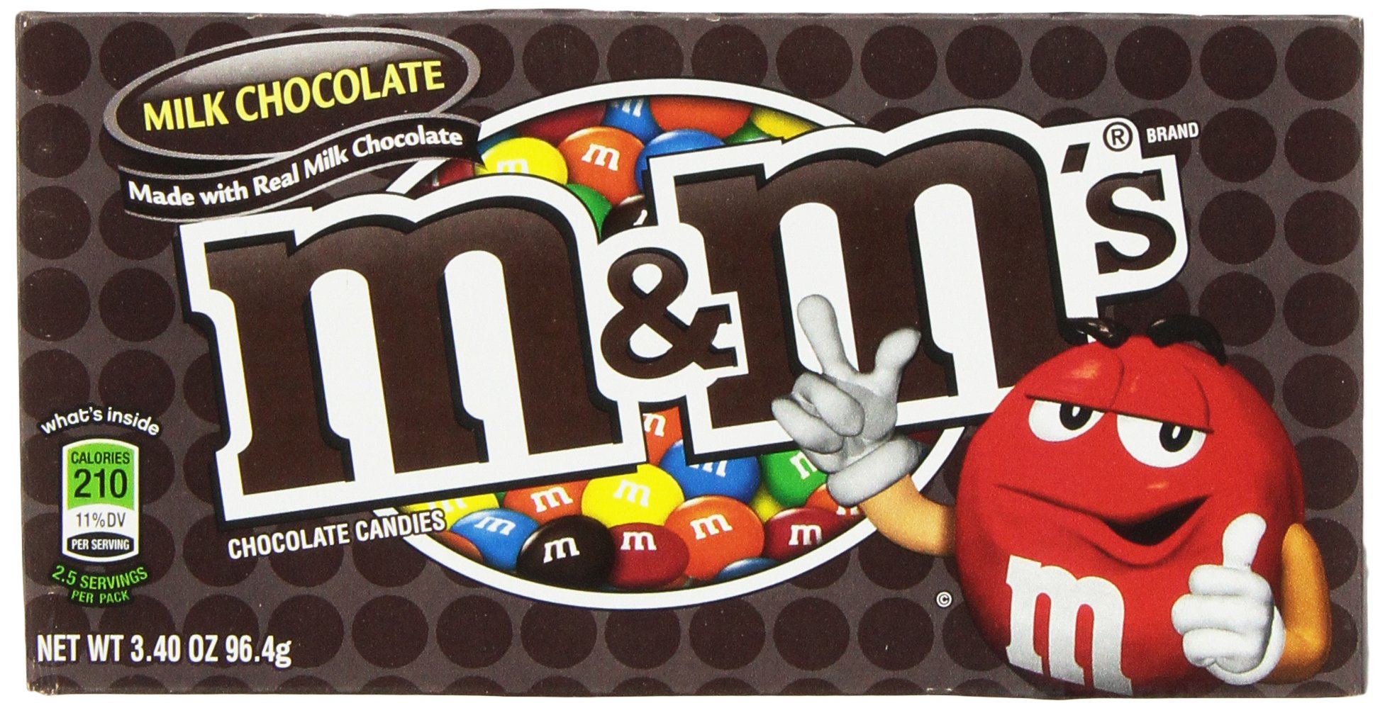 M&M Mars Milk Chocolate, 3.40-Ounce (Pack of 12) by M&M's