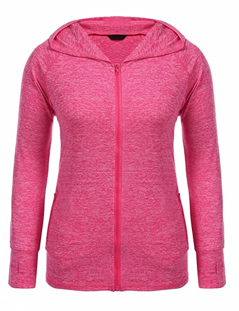 27ab92cc90f80 Zeagoo Women Lady Plus Size Autumn Winter Full Zip Stretchy Running Sports  Workout and Yoga Hoodie