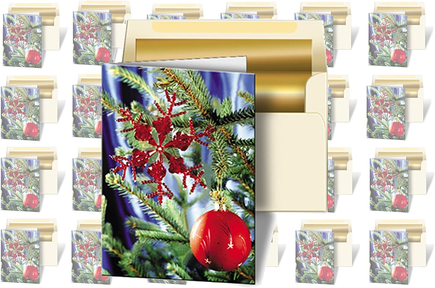 Tree Greeting Cards 3D Lenticular Christmas Cards Image with Christmas Ornament Set of 24
