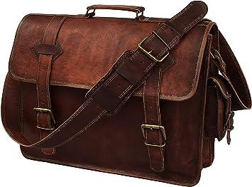 Men /& Women Leather Messenger Laptop Bag Corporate Distressed Satchel Briefcase