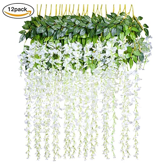 12pcslot 36feetpiece artificial flowers fake wisteria vine silk 12pcslot 36feetpiece artificial flowers fake wisteria vine silk flower for wedding junglespirit Gallery
