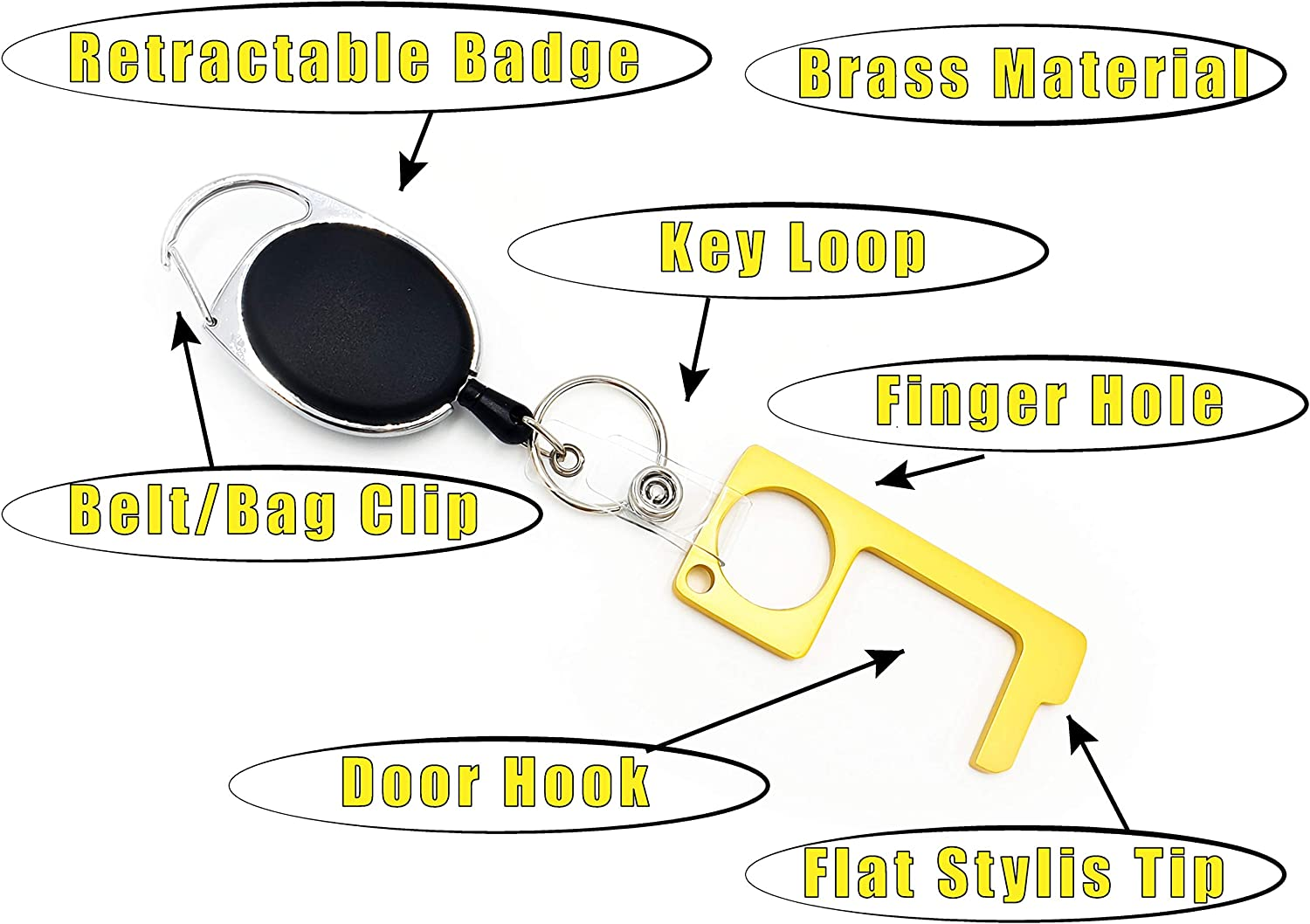 No Touch Door Opener Tool With Retractable Badge by Tennoji//Antibacterial//Antimicrobial//Smartkey//Button Pusher Tool//Multi Tool Key-chain in 3 Colors