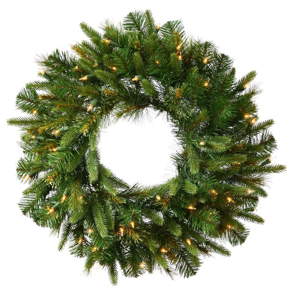 Vickerman Cashmere Pine Green Wreath with 200 Warm White Italian LED, 60-Inch