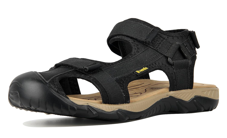 iLoveSIA Herren Outdoor Sandalen Bequemer Schuh Leichte Sommer Sandale Klettverschlüssen Geschlossene Zehenkappe Schwarz