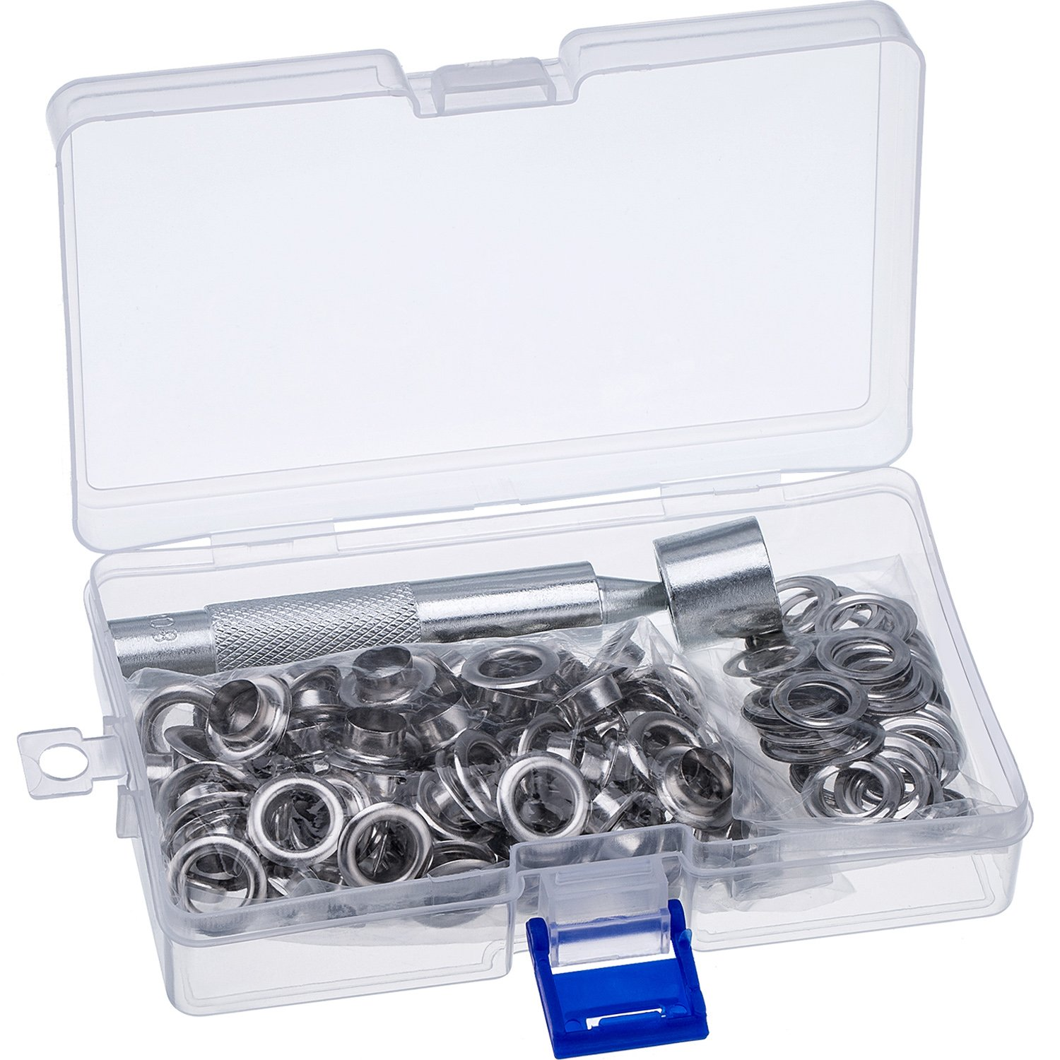 Pangda Grommet Tool Kit, Grommet Setting Tool and 100 Sets Grommets Eyelets with Storage Box (2/5 inch Inside Diameter)