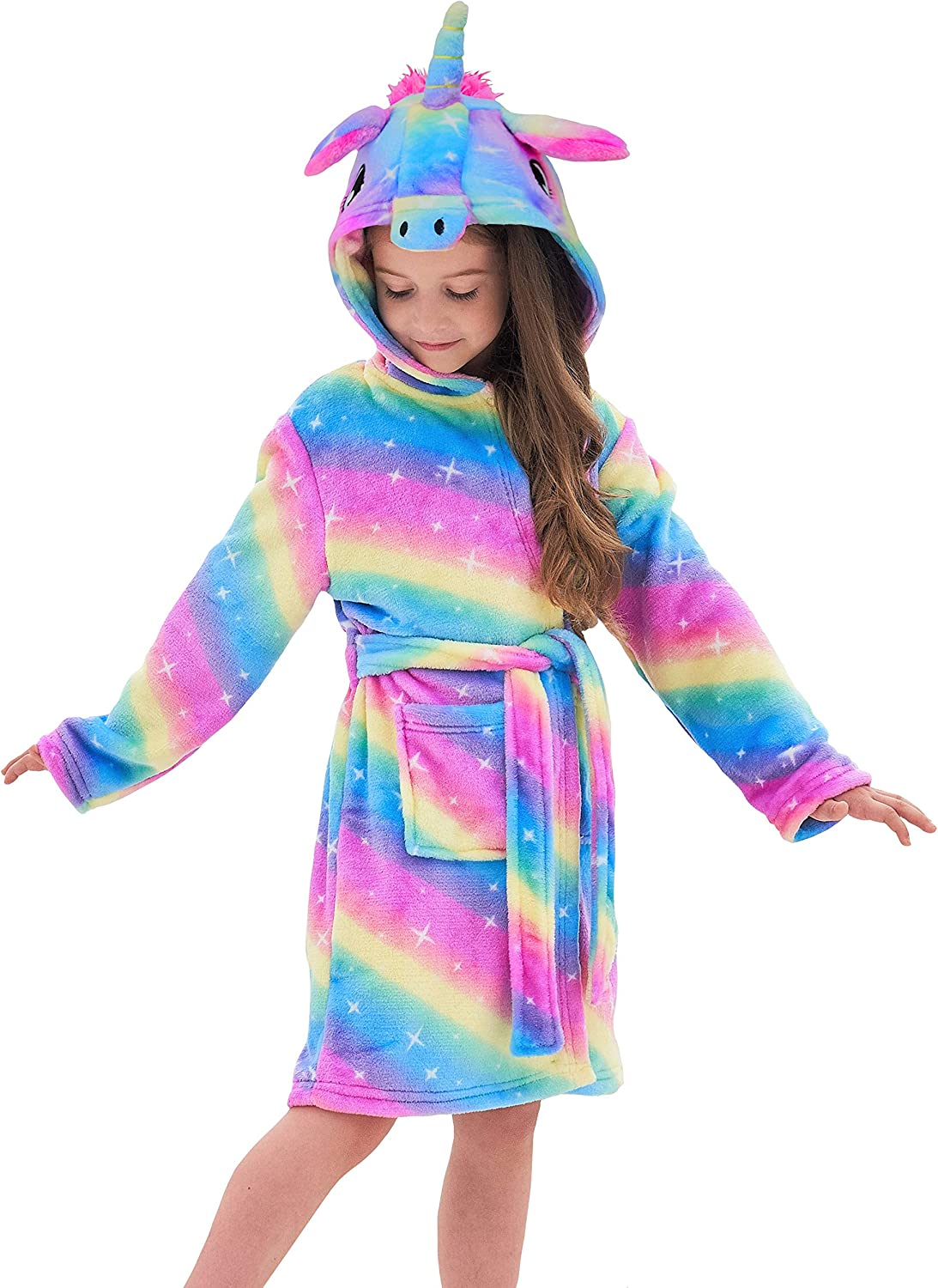 Unicorn Gifts for Girls HulovoX Unicorn Hooded Bathrobe with Slippers