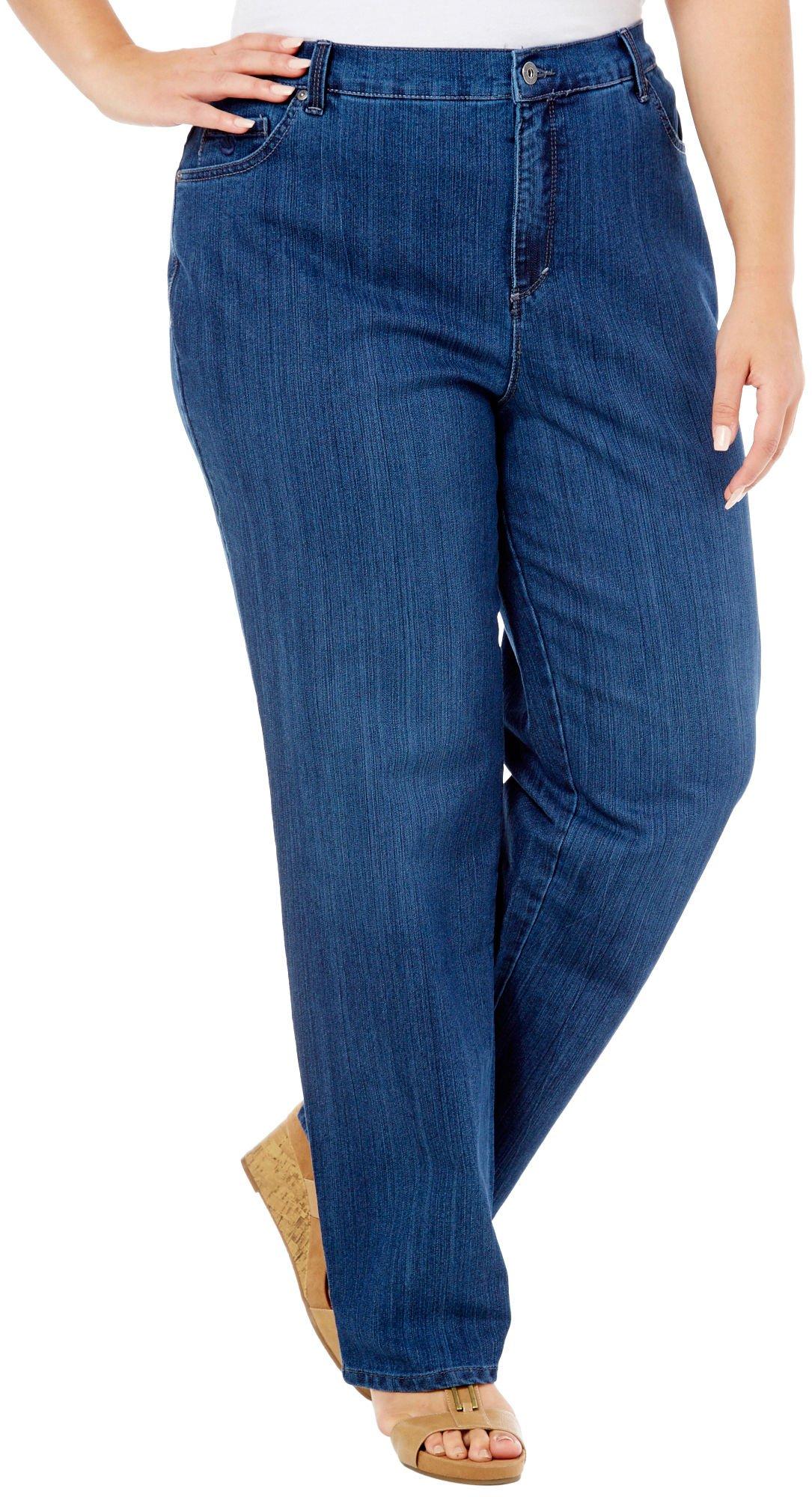 Gloria Vanderbilt Women's Plus-Size Amanda Tapered Leg Jean Average Length 31.5 Inch Inseam (16W, Blue (Scottsdale))