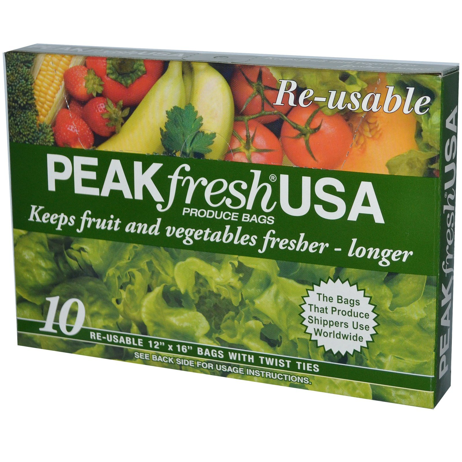 PEAKfresh USA, Produce Bags, Reusable, 10 - 12'' x 16'' Bags, with Twist Ties - 2pc