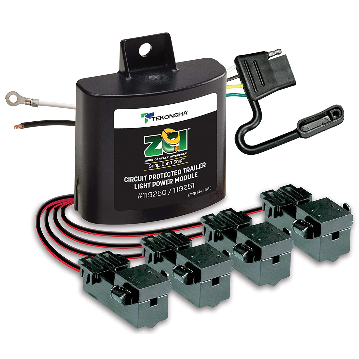 Tekonsha 119250 T Connector Automotive Curt Vehicle Wiring Harness With 4 Pole Flat Trailer