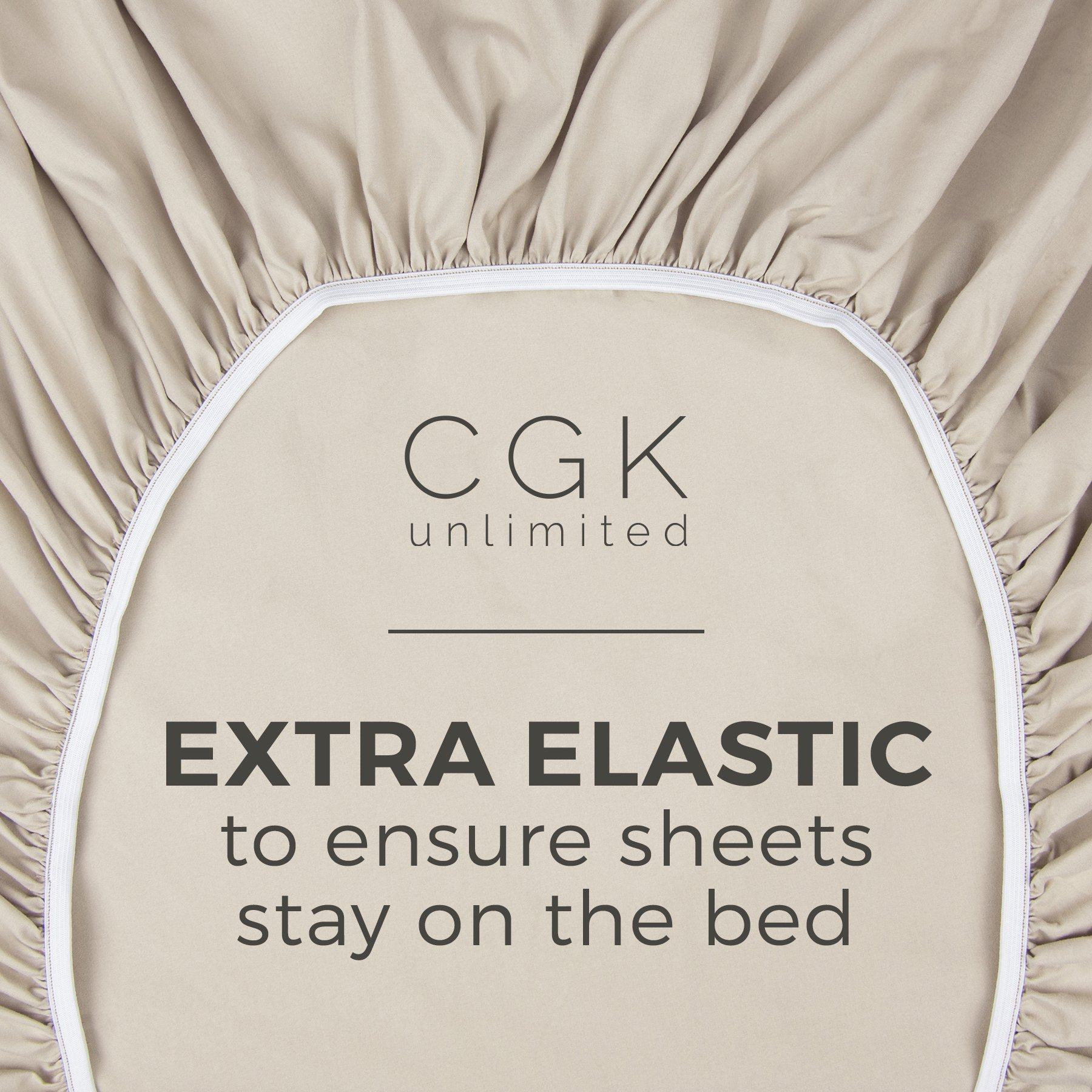 Queen Size Sheet Set - 4 Piece Set - Hotel Luxury Bed Sheets - Extra Soft - Deep Pockets - Easy Fit - Breathable & Cooling - Wrinkle Free - Comfy – Beige Tan Bed Sheets - Queens Sheets – 4 PC by CGK Unlimited (Image #3)