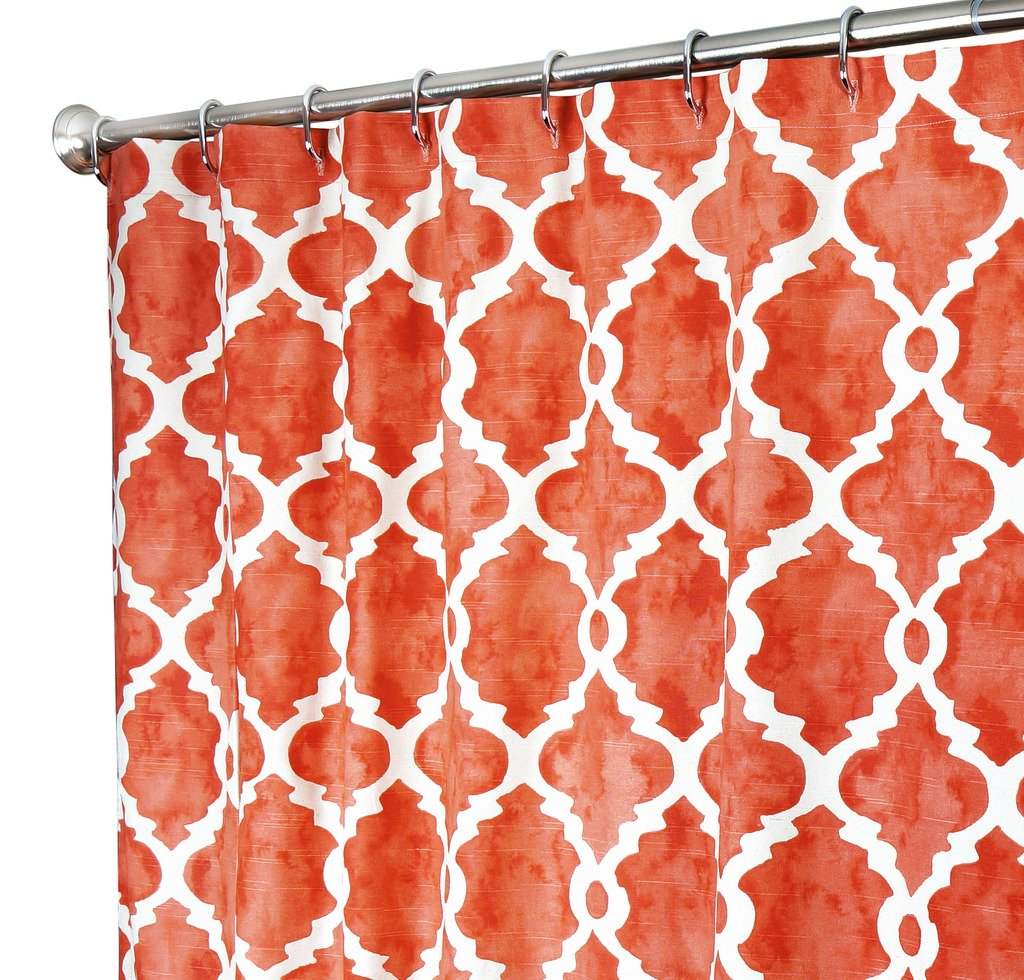 Amazon Extra Long Shower Curtain Designer Fabric Coral Red Print Hand Painted Look Unique 72x 96 Home Kitchen