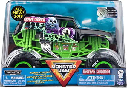 Amazon Com Monster Jam Official Grave Digger Monster Truck Die Cast Vehicle 1 24 Scale Toys Games