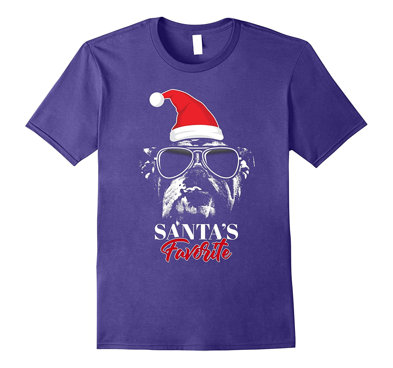 English Bulldog Santa's Favorite Funny Christmas T-Shirt-ANZ