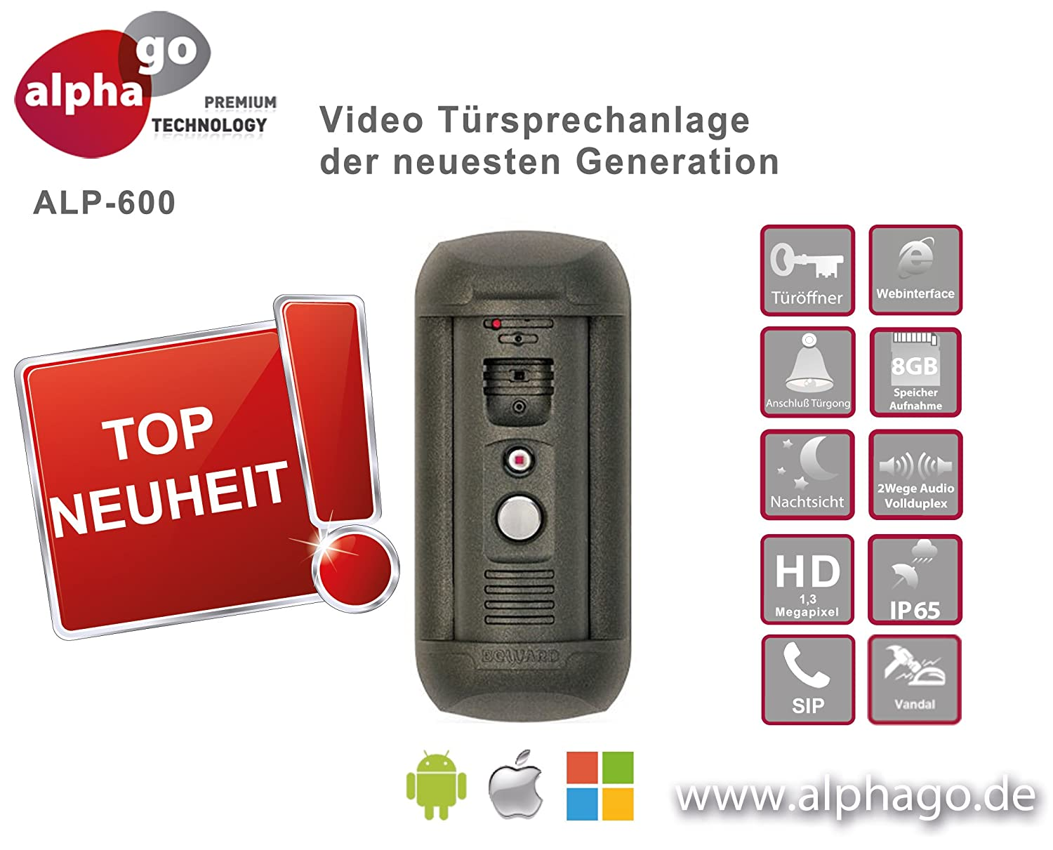 IP Video Türsprechanlage Alphago ALP-600 - Beste IP Sprechanlage für die Fritzbox
