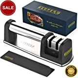 Knife Sharpener for Perfect Sharp Knives   Professional Chef Kitchen Knife Sharpener with 2 Stage Knife Sharpening System that Restores your Damaged Blades in Seconds + Knife Sheath Set by Redpeaq
