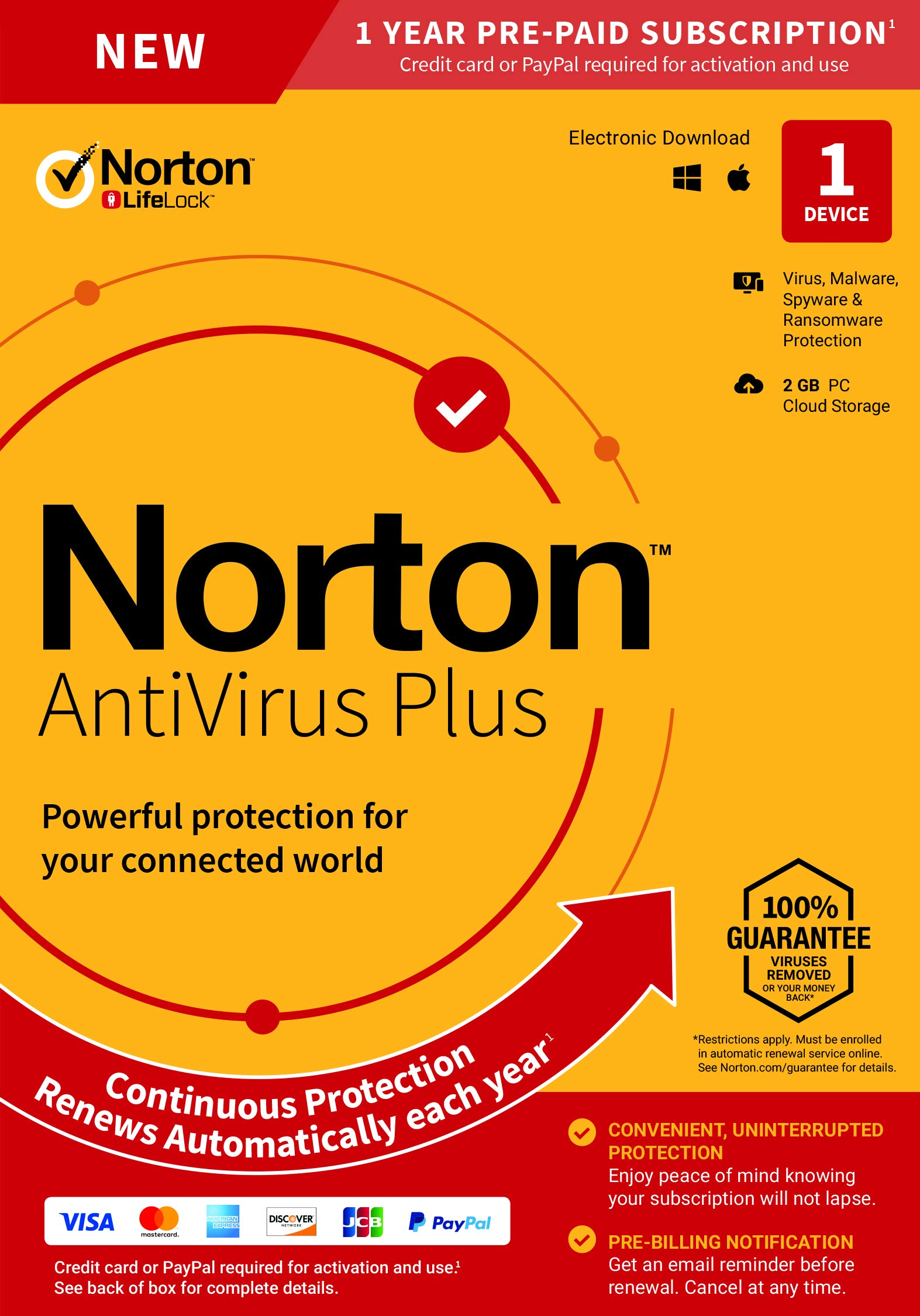 NEW Norton AntiVirus Plus - Antivirus software for 1 Device with Auto-Renewal - Includes Password Manager, Smart Firewall and PC Cloud Backup by Symantec
