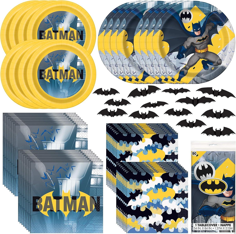 Unique Batman Party Bundle | Luncheon & Beverage Napkins, Dinner & Dessert Plates, Table Cover, Bat Cutouts | Superhero Birthday Party Officially Licensed by Unique